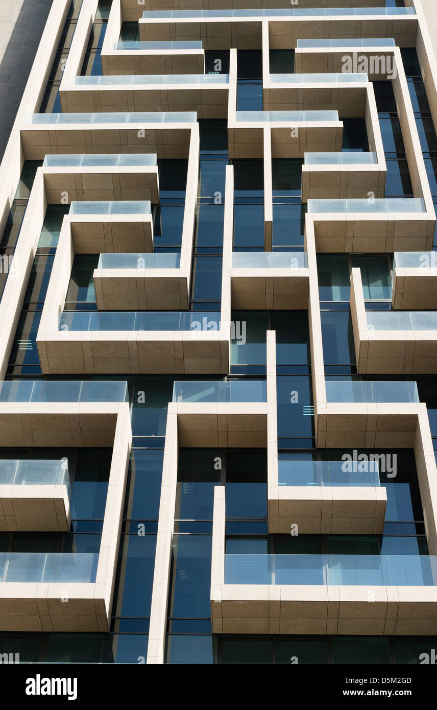 Detail of modern architectural details on new high-rise apartment building in Dubai United Arab Emirates - Stock Image