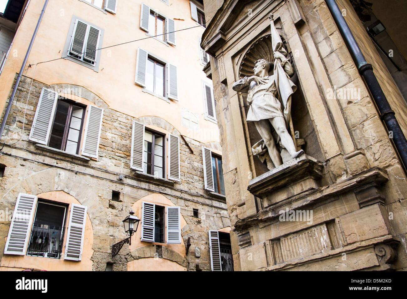 Statue of Michele di Lando on the facade of Loggia del Mercato Nuovo. Stock Photo