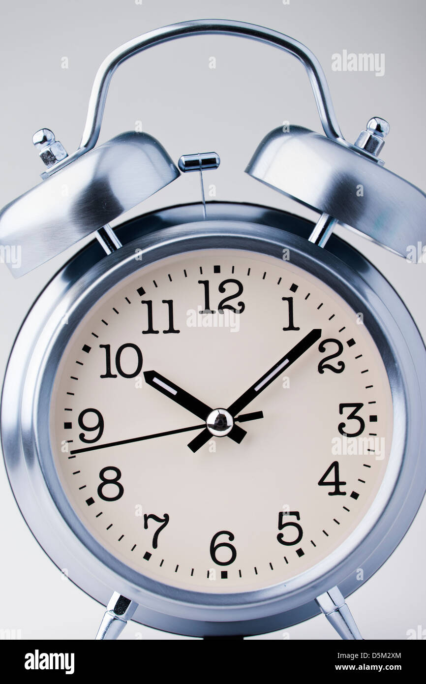 old fashion alarm clock, front view - Stock Image