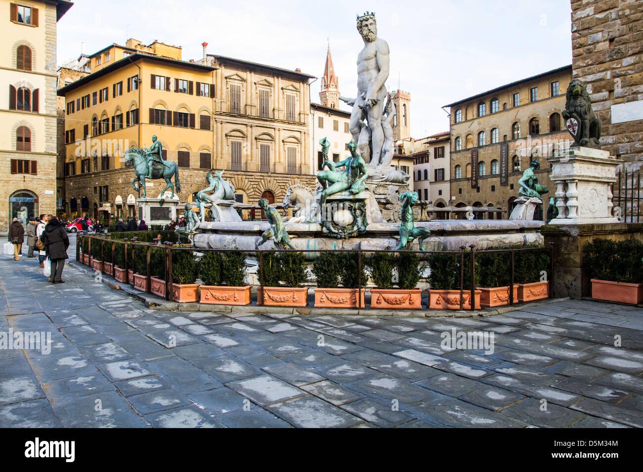 Fountain of Neptune (Fontana del Nettuno). - Stock Image