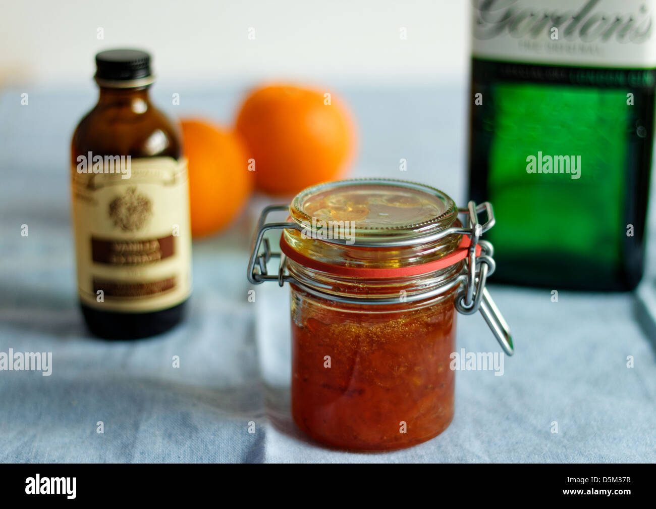 Marmalade with gin and vanilla - Stock Image