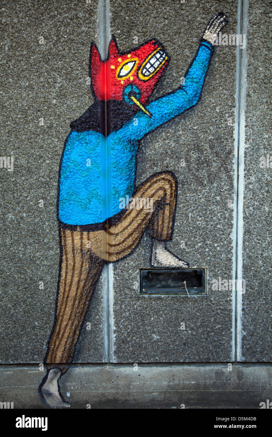 Mural paintings on South bank wall by Saner & Remed - London, UK - Stock Image
