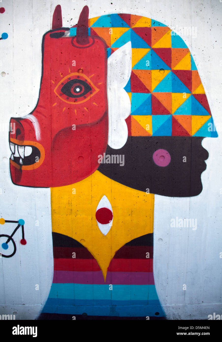 Mural paintings on South bank wall - London, UK - Stock Image