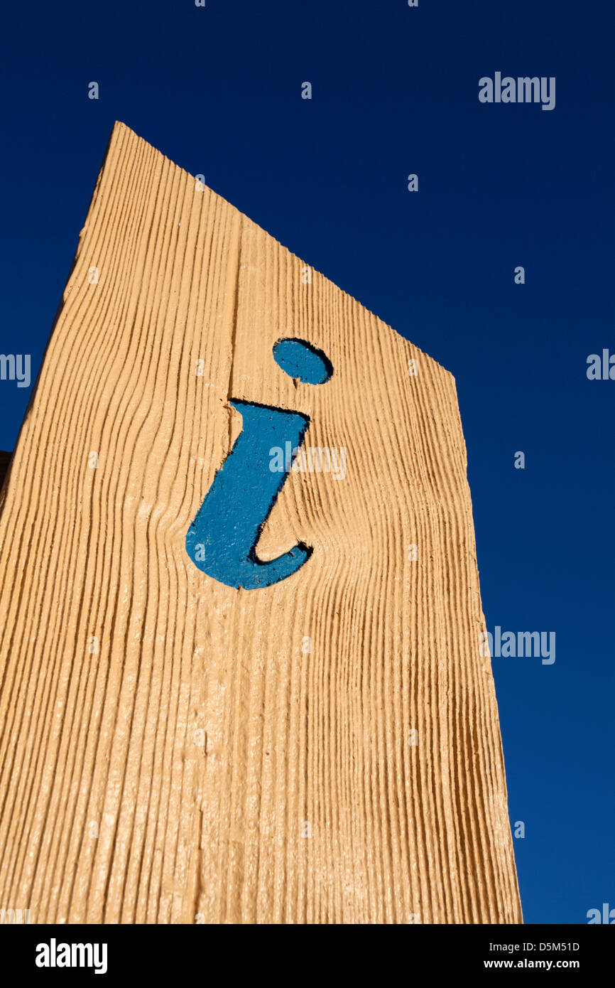 Blue Letter i Information Signpost against Blue Sky St Andrews Fife Scotland - Stock Image