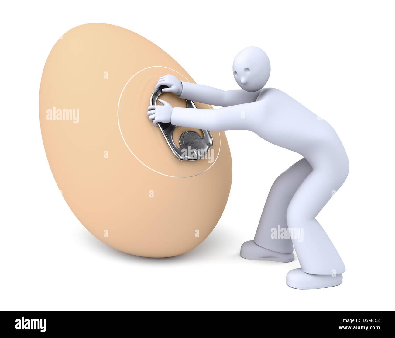 Easy open egg - Stock Image