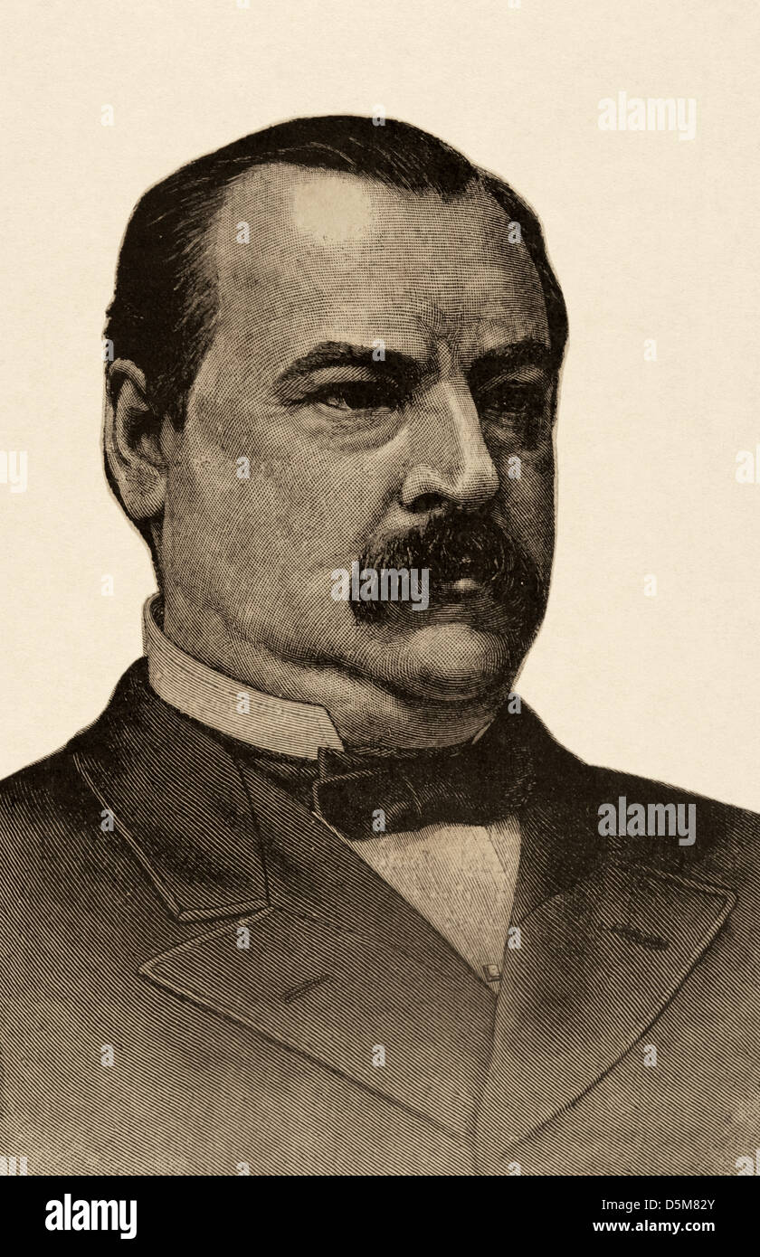 Grover Cleveland (1837-1908). President of the United States. Engraving in The Illustration, 1884. - Stock Image