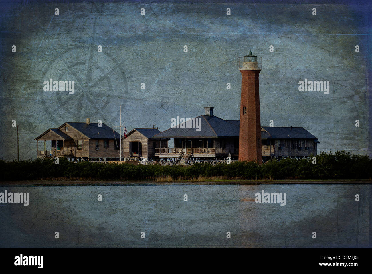 Digitally enhanced photograph of the Lydia Ann lighthouse near Aransas Pass, Texas USA - Stock Image