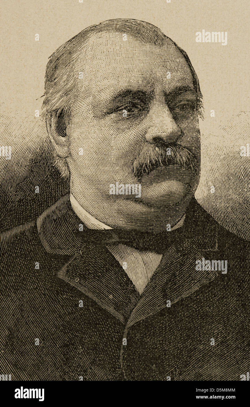 Grover Cleveland (1837-1908). President of the United States. Engraving. - Stock Image