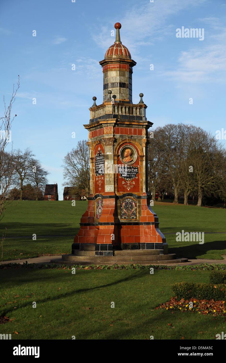 The Richard Eve memorial monument in Brinton Park, Kidderminster, Worcestershire - Stock Image