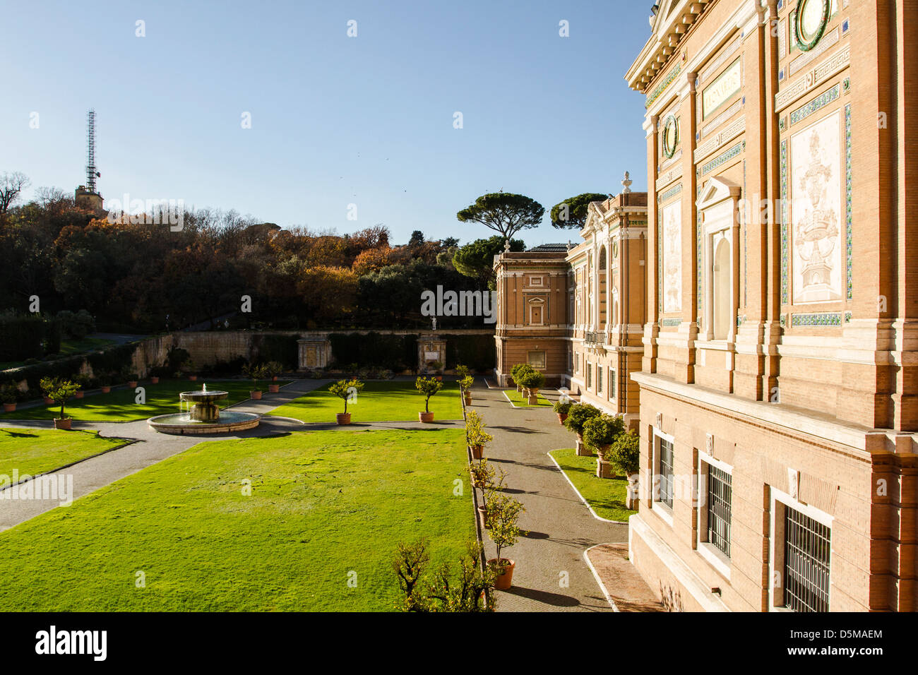 Facade of Belvedere Palace (Palazzeto del Belvedere) in Vatican Museum viewed from Belvedere Courtyard (Cortile - Stock Image