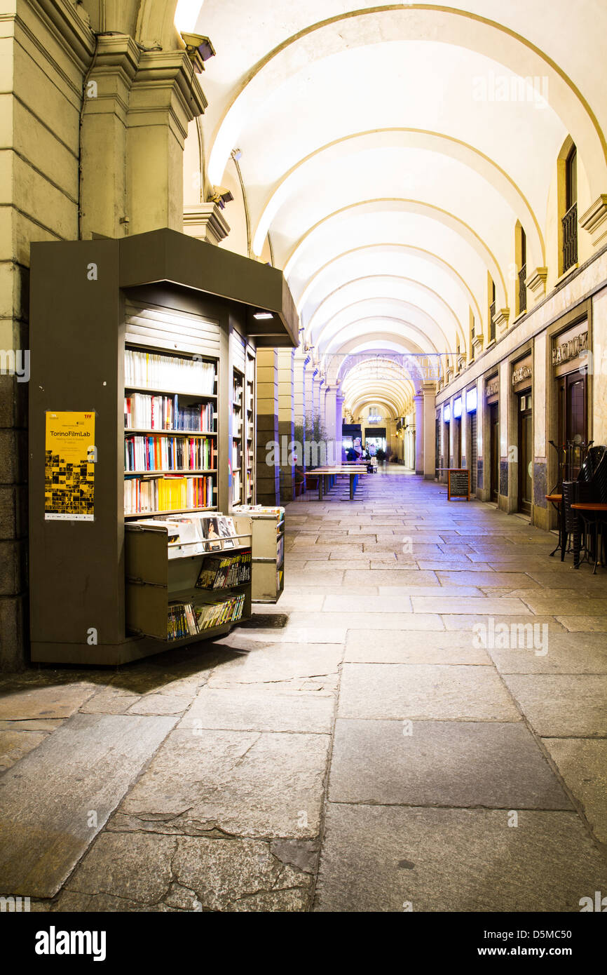 Arcaded shopping promenade in downtown. - Stock Image