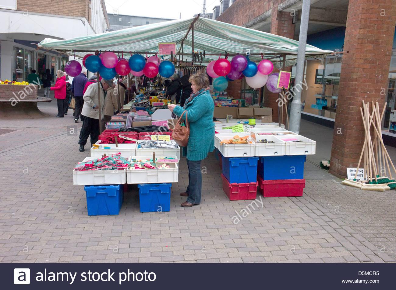 Street market, Carmarthen, Wales, UK Stock Photo