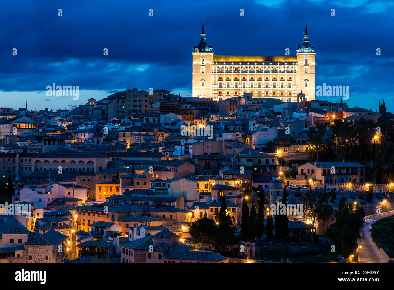 Night view of the Alcazar,  Toledo, Castile La Mancha, Spain - Stock Image