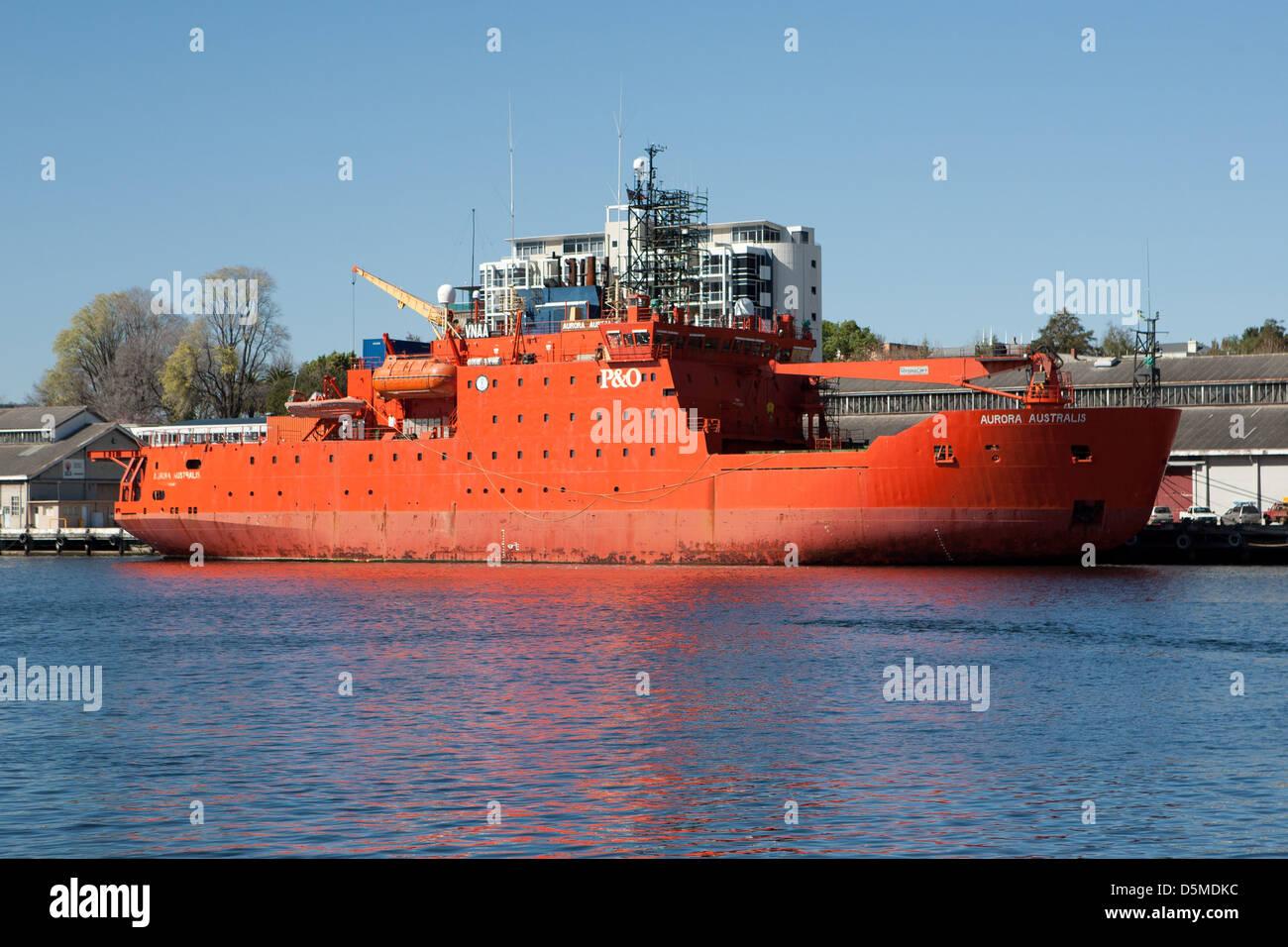Aurora Australis docked in Hobart, Tasmania - Stock Image