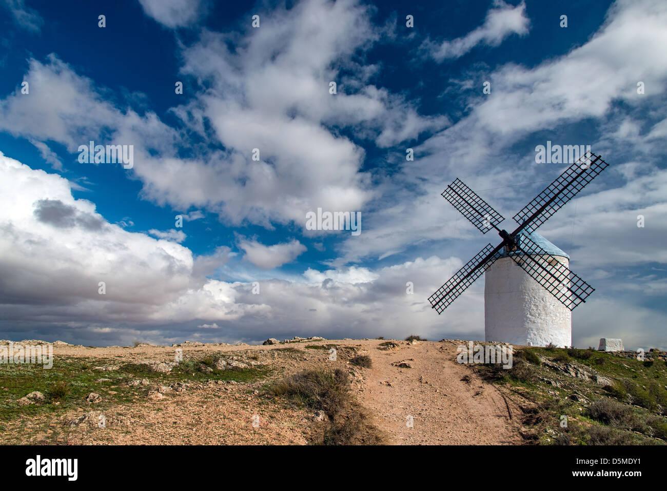 Typical Spanish windmill, Consuegra, Castile La Mancha, Spain - Stock Image
