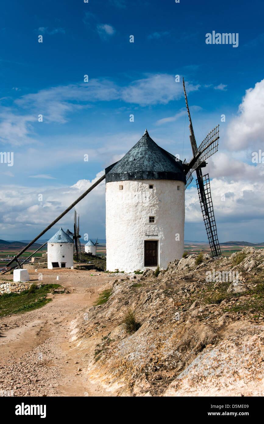 Spanish white windmill, Consuegra, Castile La Mancha, Spain - Stock Image