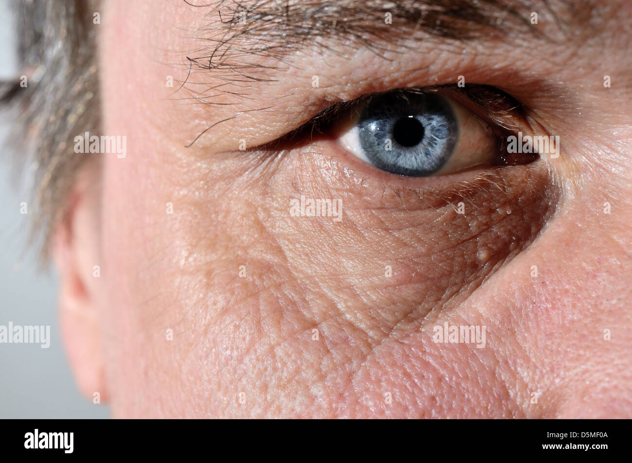 part of a man's face with blue eye - Stock Image