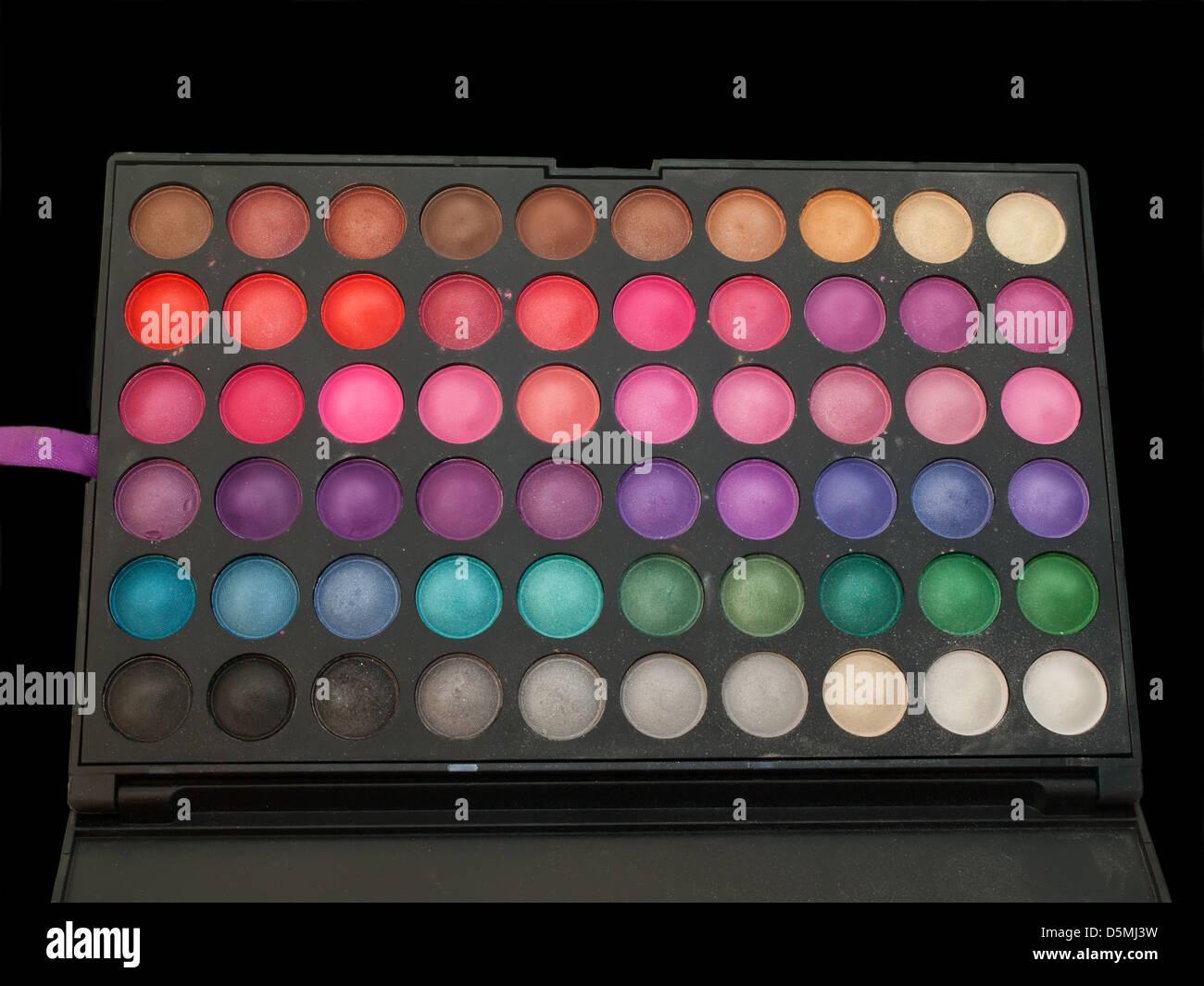 professiona make-up eye shadows palette isolated - Stock Image