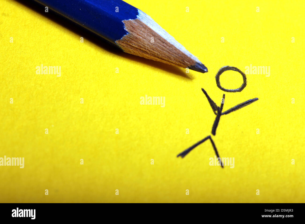 stickman pencil drawing Stock Photo