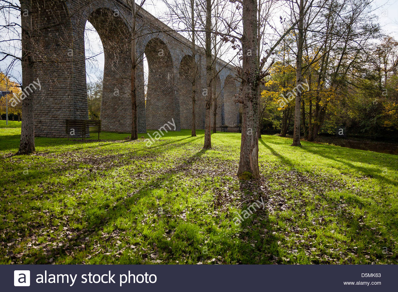 Viaduct at Glénic in late afternoon sunshine, La Creuse, Limousin, France Stock Photo
