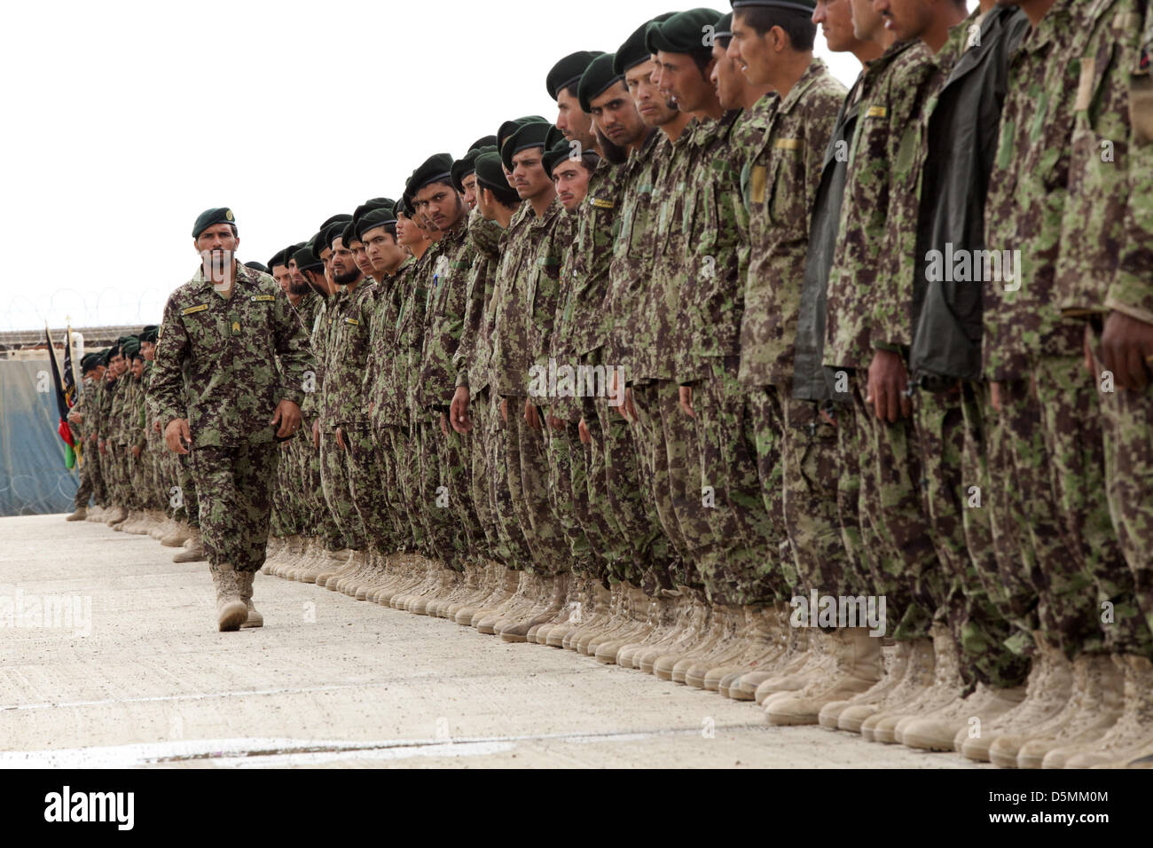 Afghan Nation Army soldiers during graduation from basic warrior course March 28, 2013 at Camp Shorabak, Helmand - Stock Image