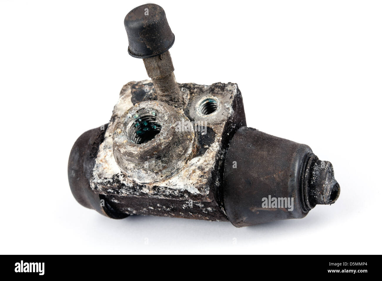 Worn out brake cylinder - Stock Image
