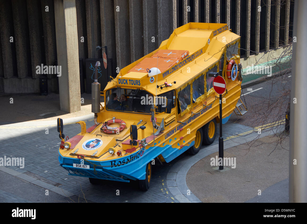 Sightseeing amphibious vehicle (duck boat) in London. - Stock Image