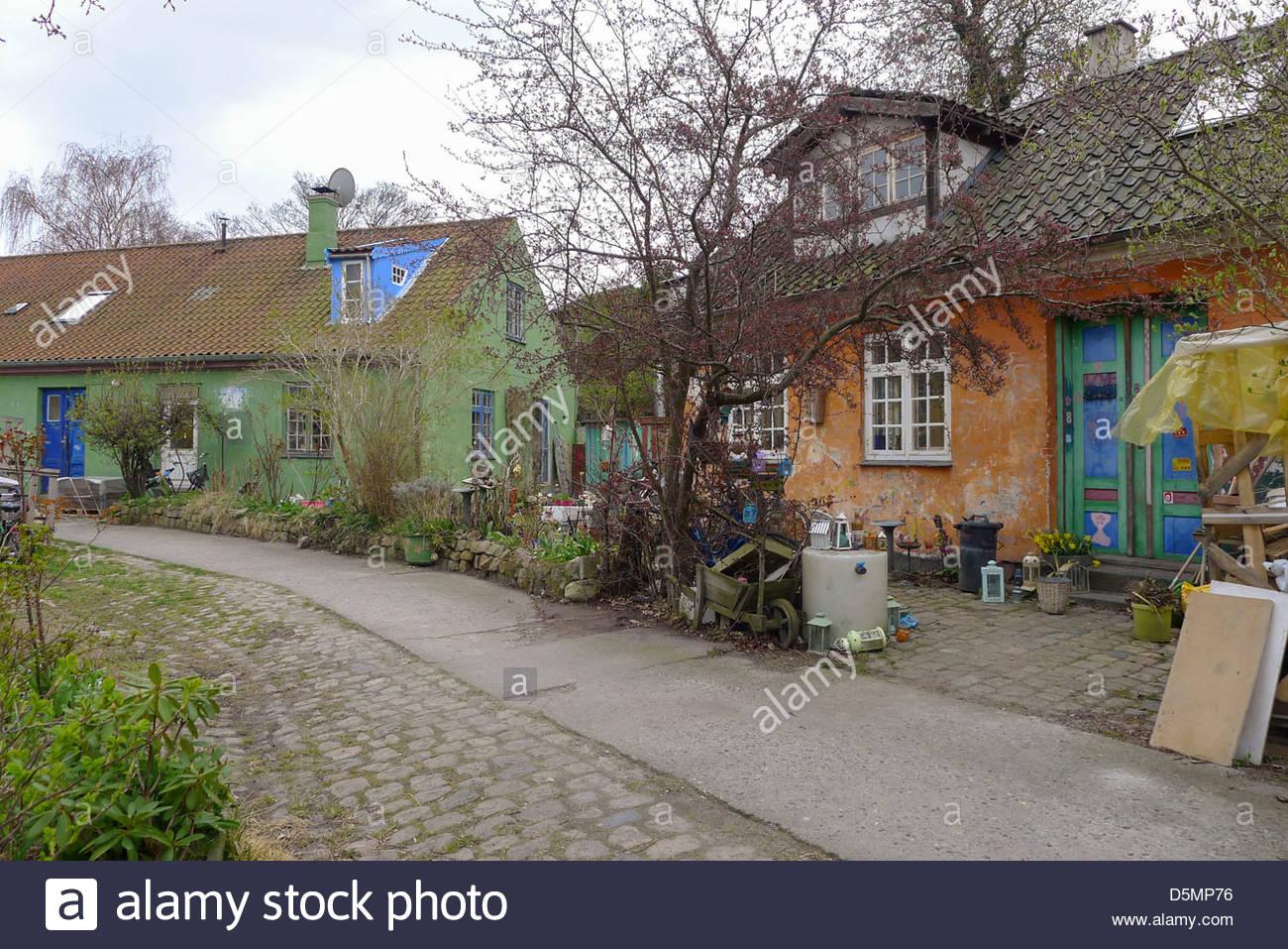 Buildings in Freetown Christiania, Copenhagen, Region Hovedstaden, Denmark Stock Photo