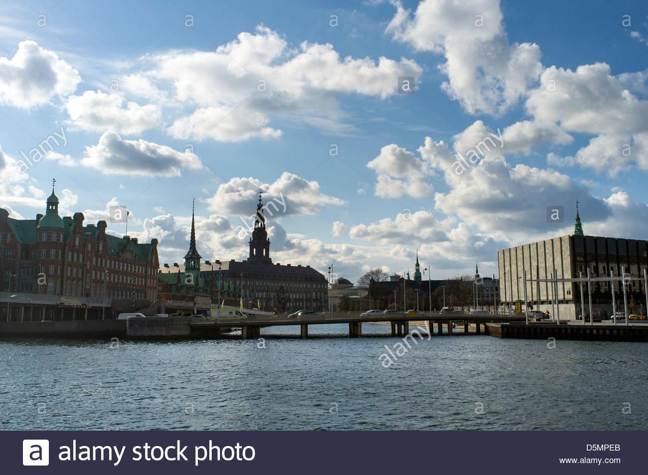 View of central Copenhagen and Christians Brygge, Region Hovedstaden, Denmark - Stock Image