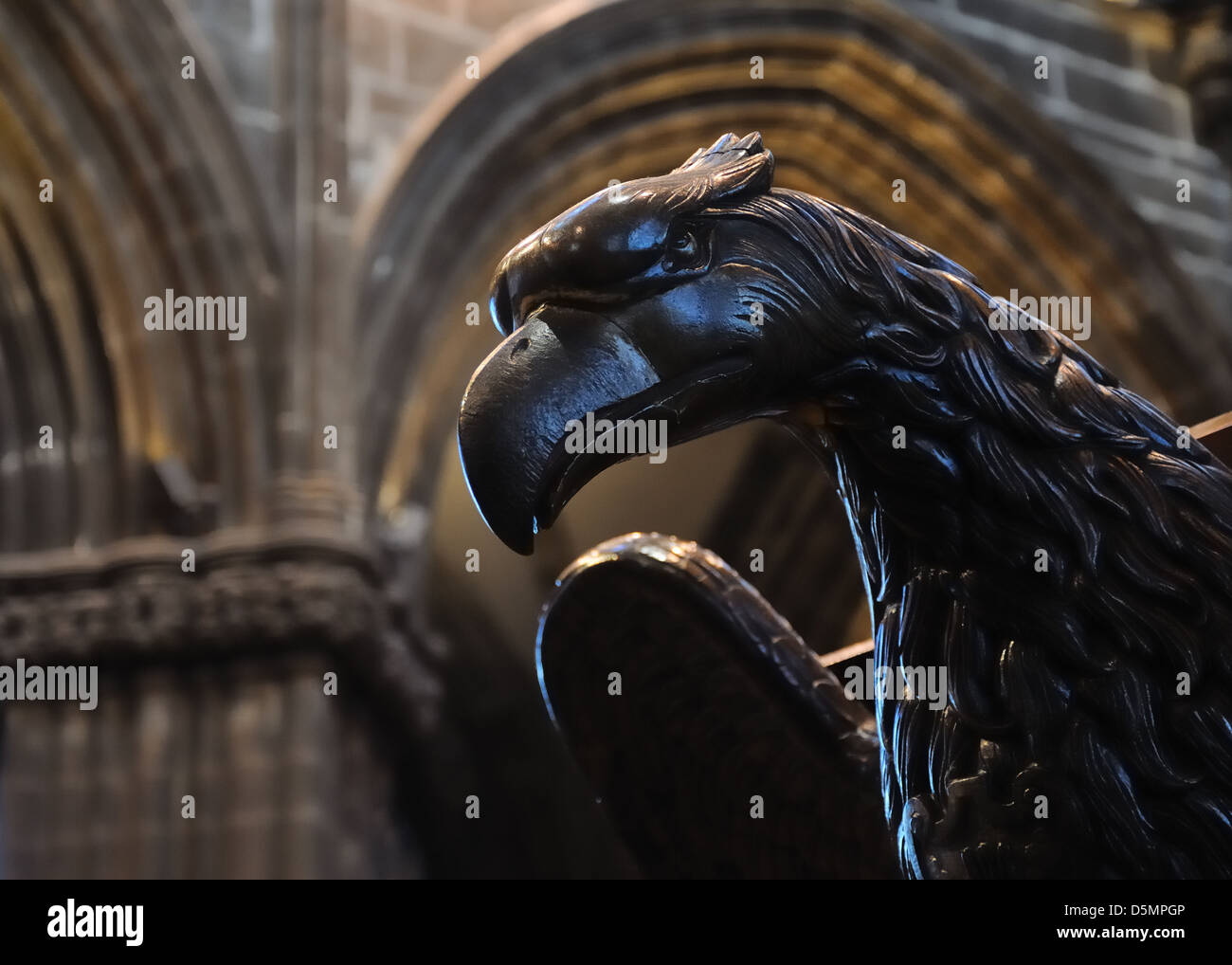 Bird head lectern in Glasgow Cathedral, Scotland, UK - Stock Image
