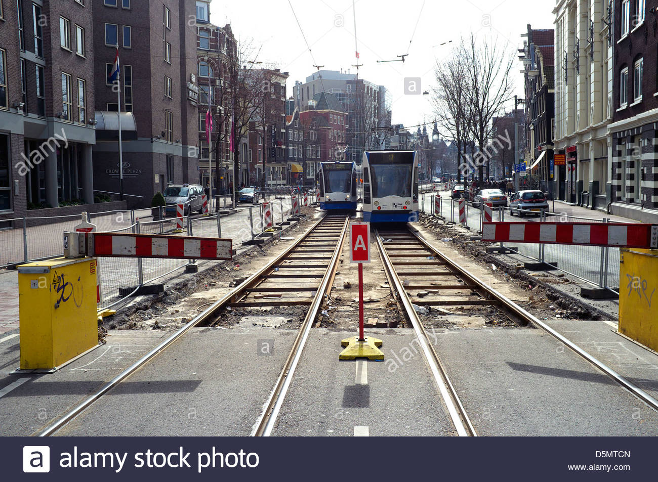 Tram line renewal works, in Amsterdam, the Netherlands. - Stock Image