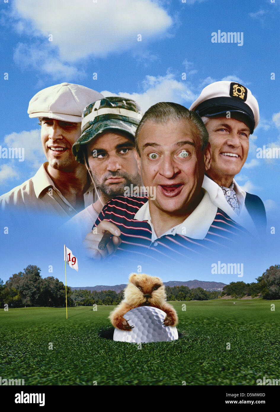 CHEVY CHASE BILL MURRAY RODNEY DANGERFIELD & TED KNIGHT CADDYSHACK (1980) - Stock Image