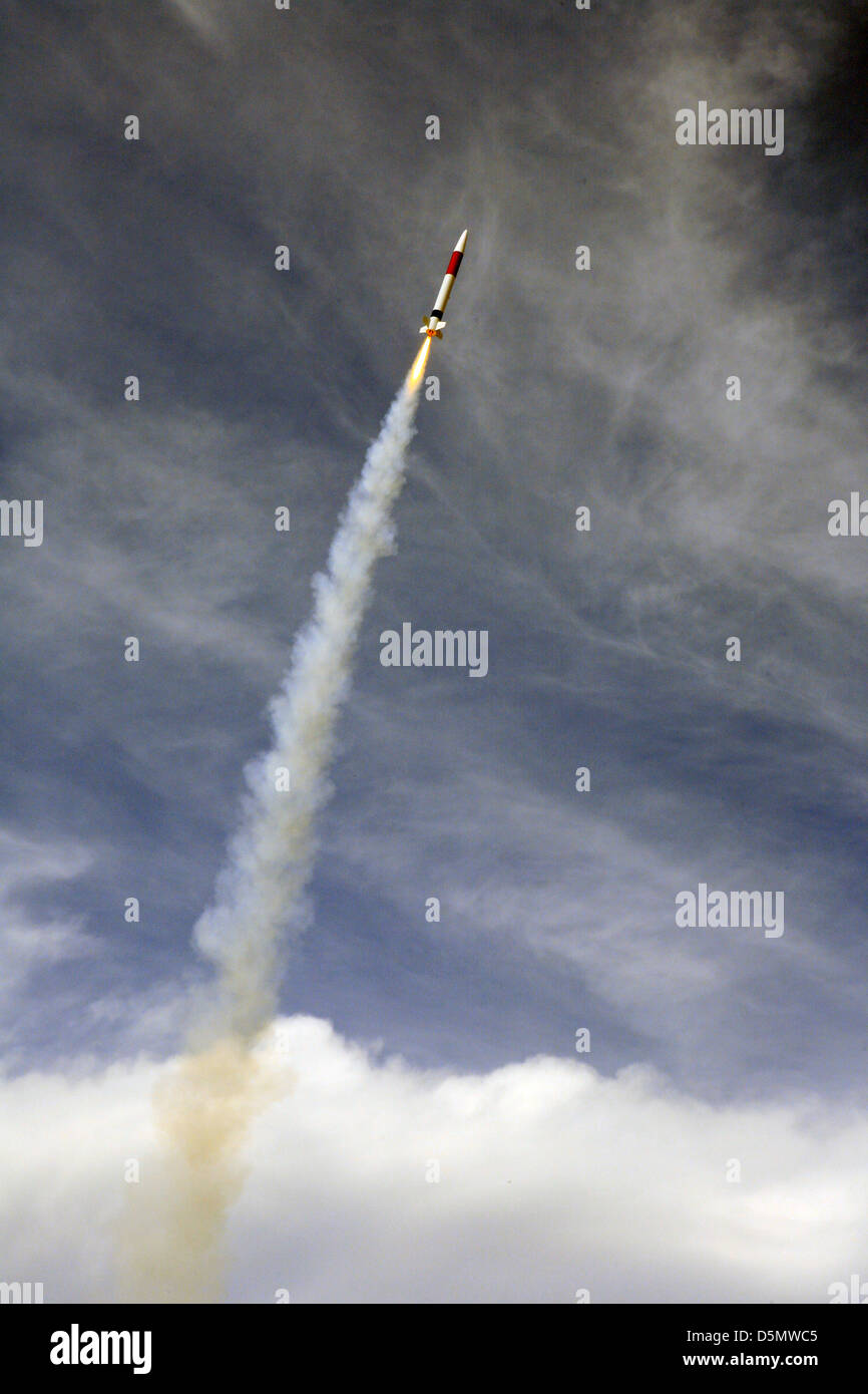 Rocket in to the skies - Stock Image