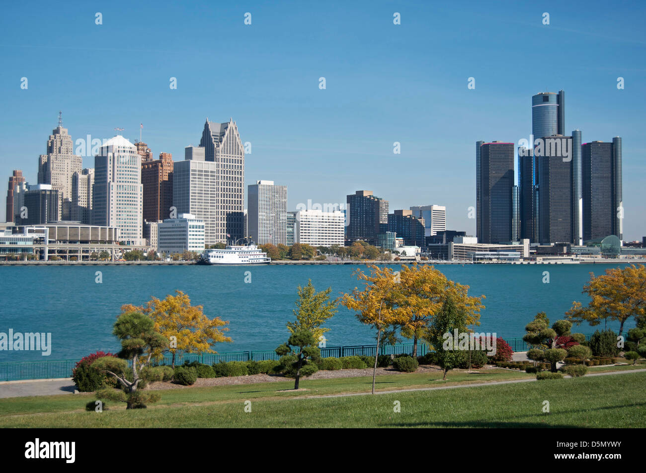 Panoramic shot of Detroit's skyline taken from Ontario,Canada and across the Detroit River in Fall of 2012. - Stock Image