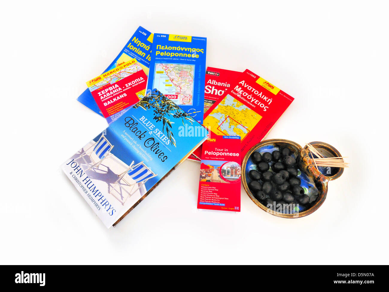 Pending road trip to the Peloponnese Greece  with John Humphreys Blue skies &Black Olives inspirational  book - Stock Image