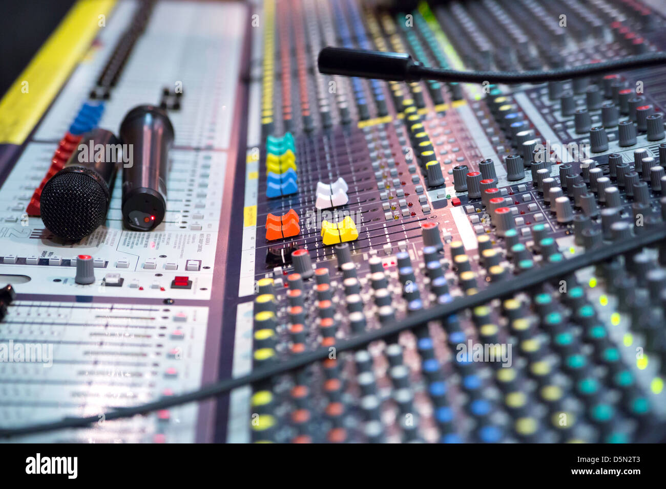 Ange view on sound mixer with regulation buttons - Stock Image