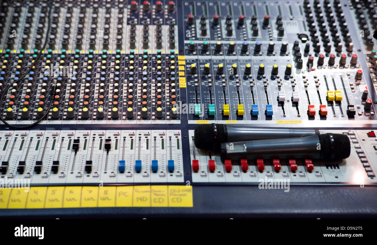 Over view on sound mixer with regulation buttons - Stock Image