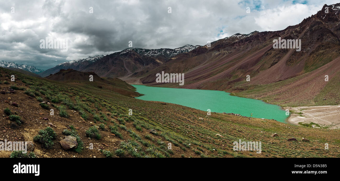 himalayas lake Chandra Taal in summer time - Stock Image