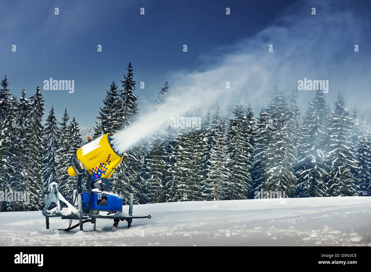 snow cannon in winter mountain - Stock Image