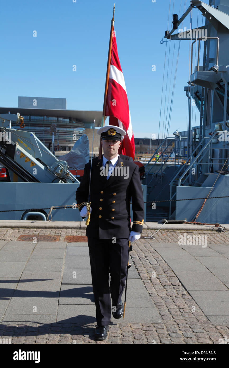 Copenhagen, Denmark. April 4th 2013. Cadets from the Royal Danish Naval Academy during their 'Flag on Board' - Stock Image