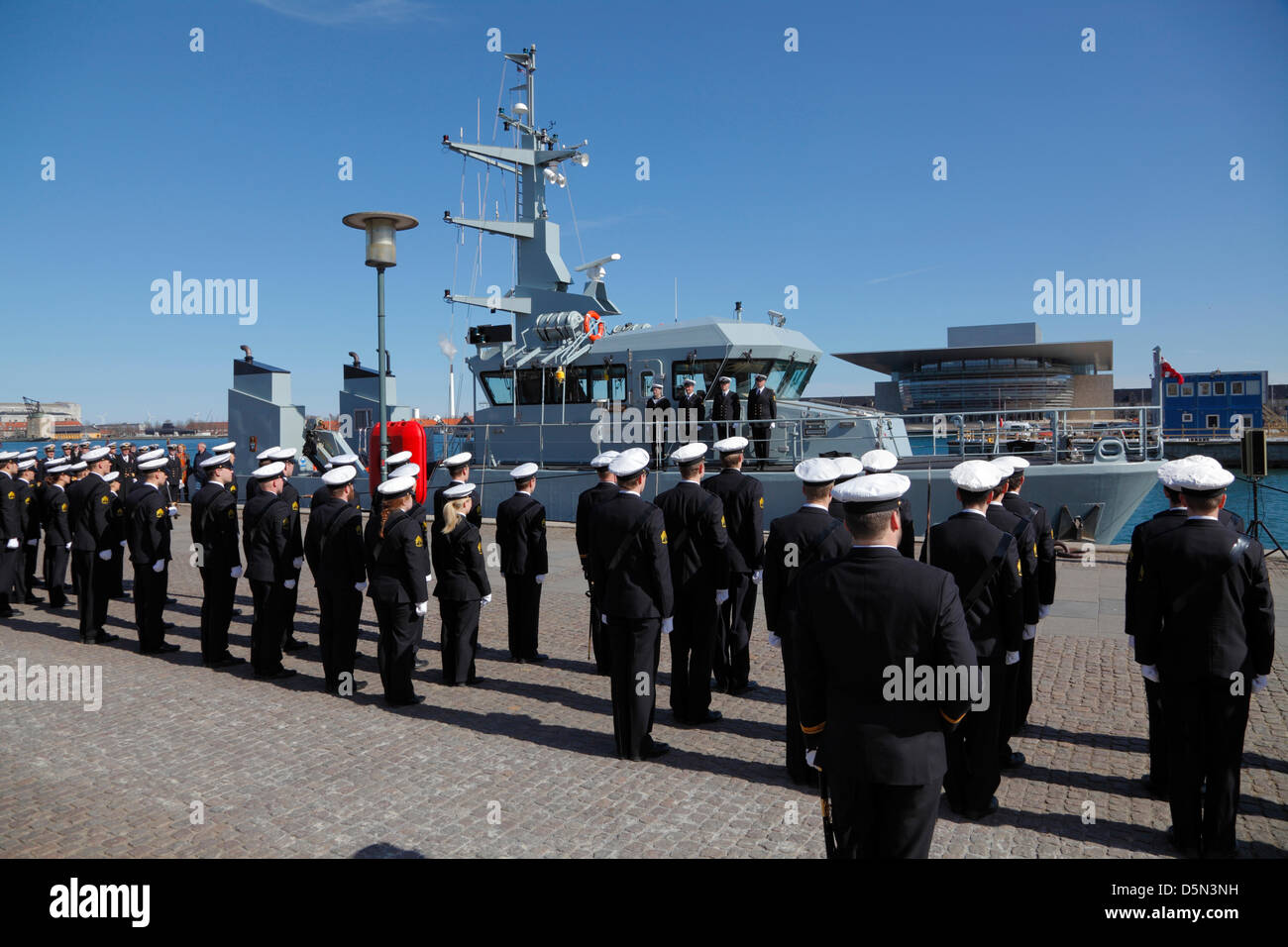 Copenhagen, Denmark. April 4th 2013. Cadets from the Royal Danish Naval Academy accompanied by the Royal Danish - Stock Image