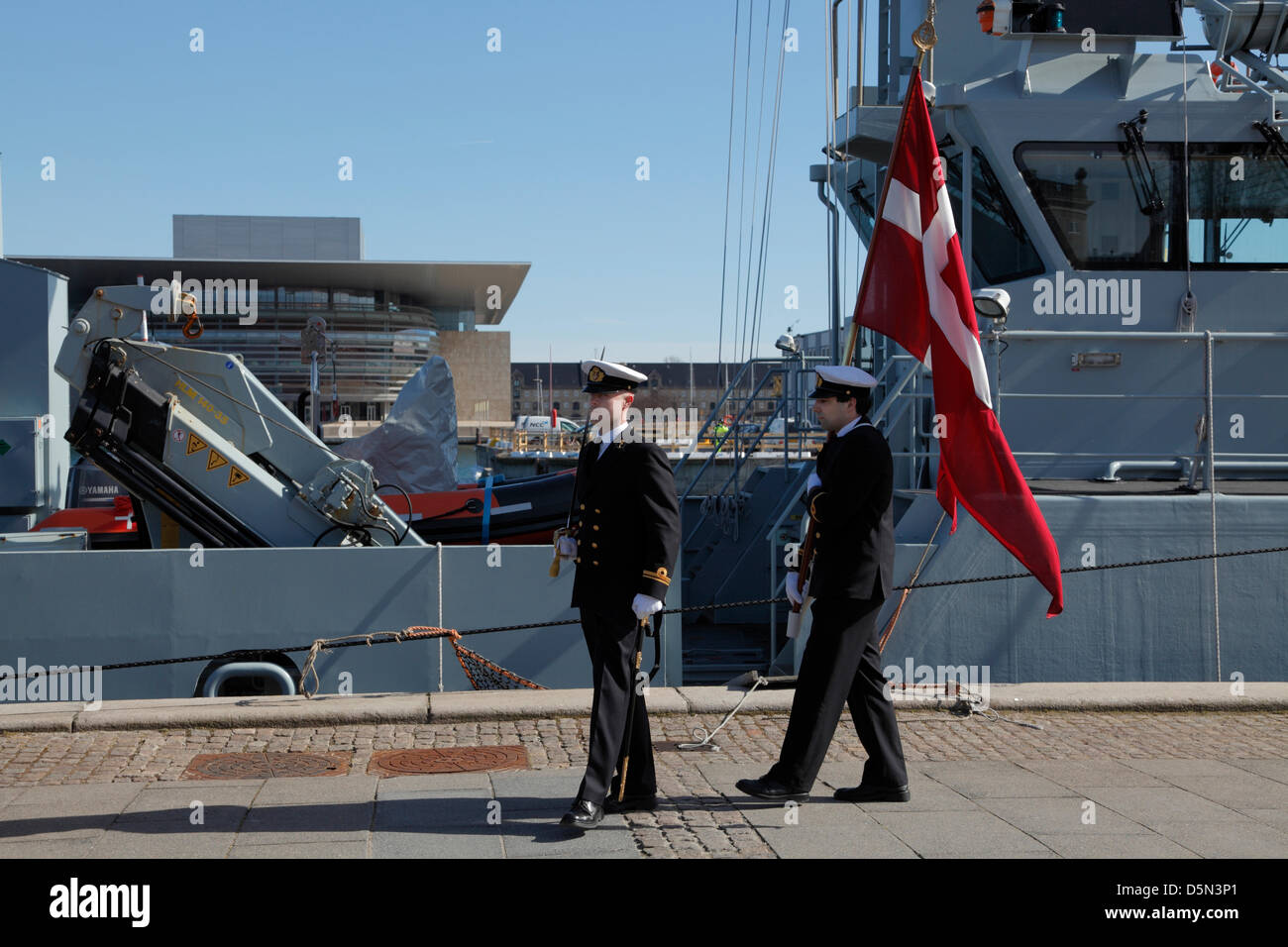 "Copenhagen, Denmark. April 4th 2013. The ""Flag on Board"" parade by the cadets from the Royal Danish Naval Academy - Stock Image"