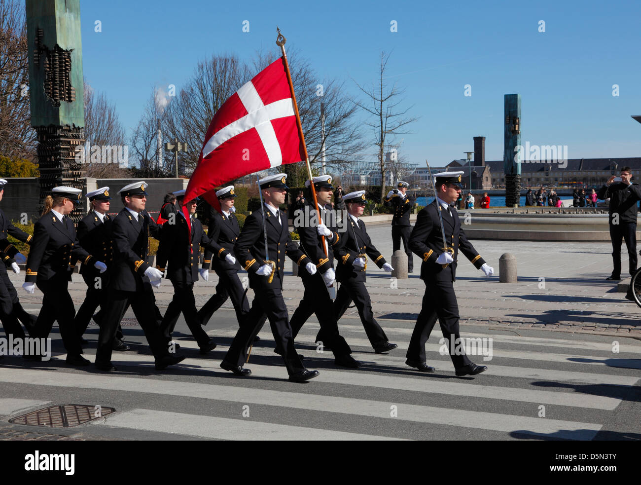 "Copenhagen, Denmark. April 4th 2013. Cadets from the Royal Danish Naval Academy during their ""Flag on Board"" parade - Stock Image"