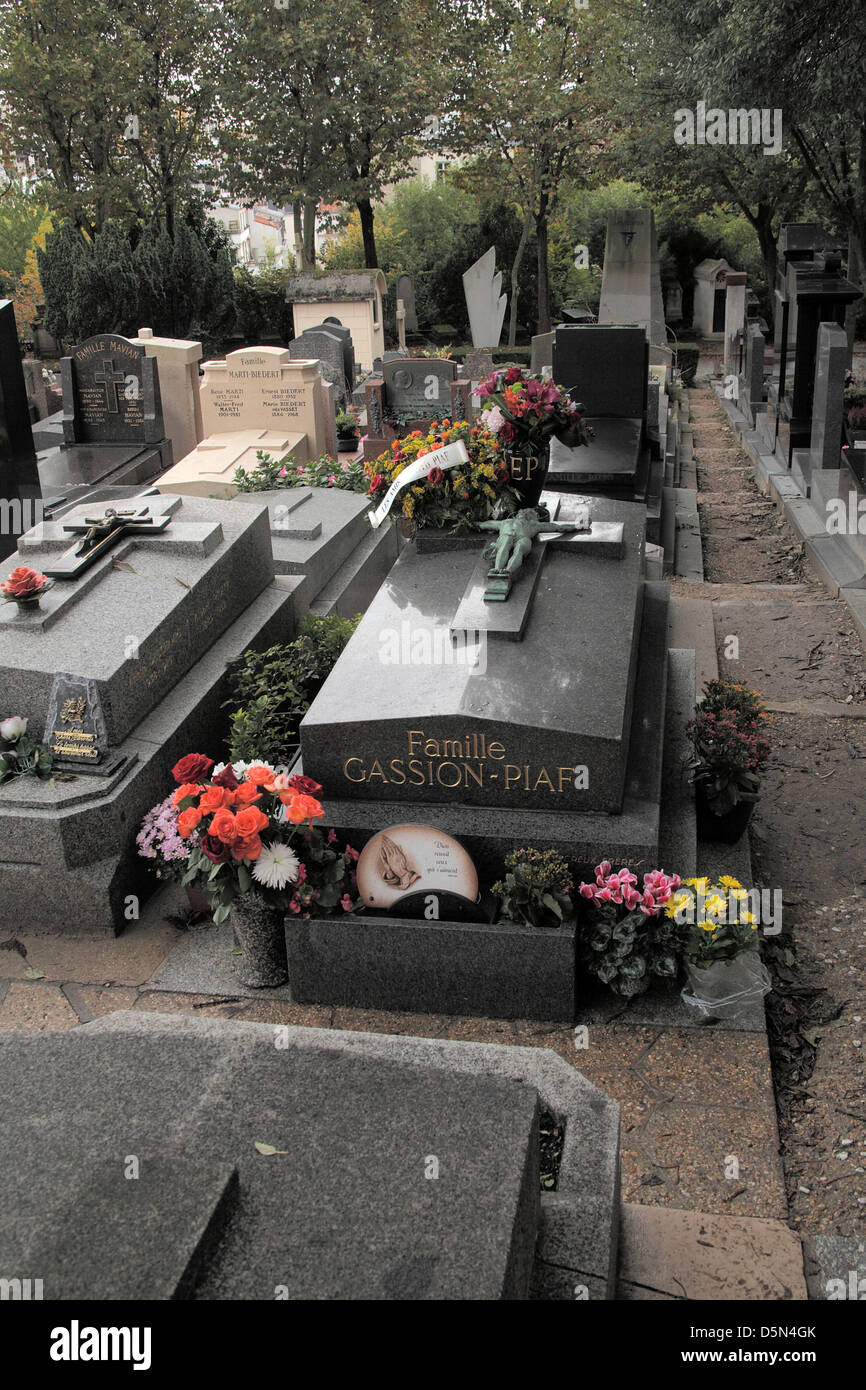Tomb of Edith Piaf in Pere Lachaise cemetery in Paris Stock Photo