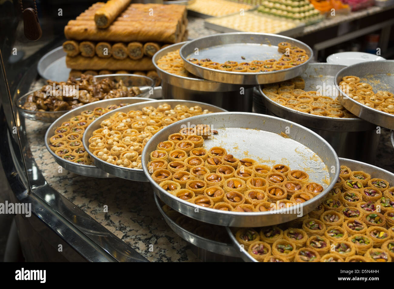 Patisserie in Istanbul, Istanbul, Turkey, Middle East - Stock Image
