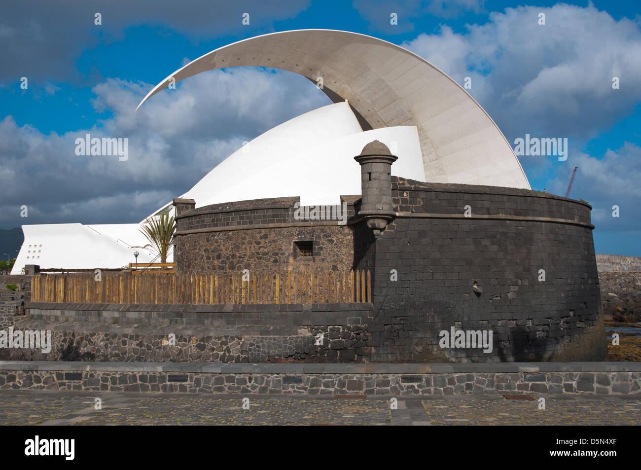 Castillo de San Juan castle and Auditorio de Tenerife building Santa Cruz city Tenerife island Canary Islands Spain - Stock Image