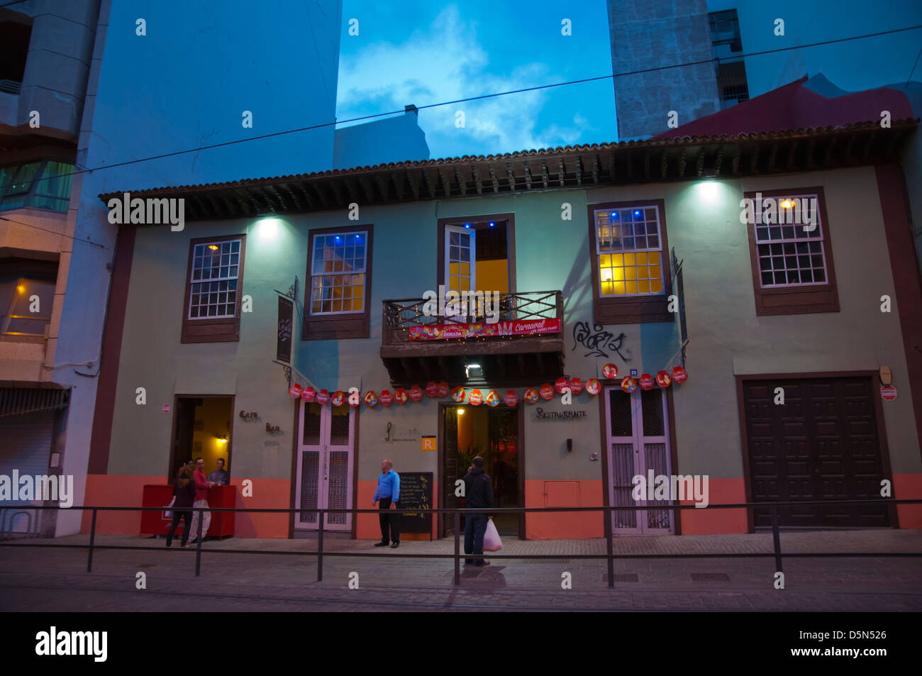 Nightlife along Imeldo Seris street Santa Cruz city Tenerife island Canary Islands Spain - Stock Image