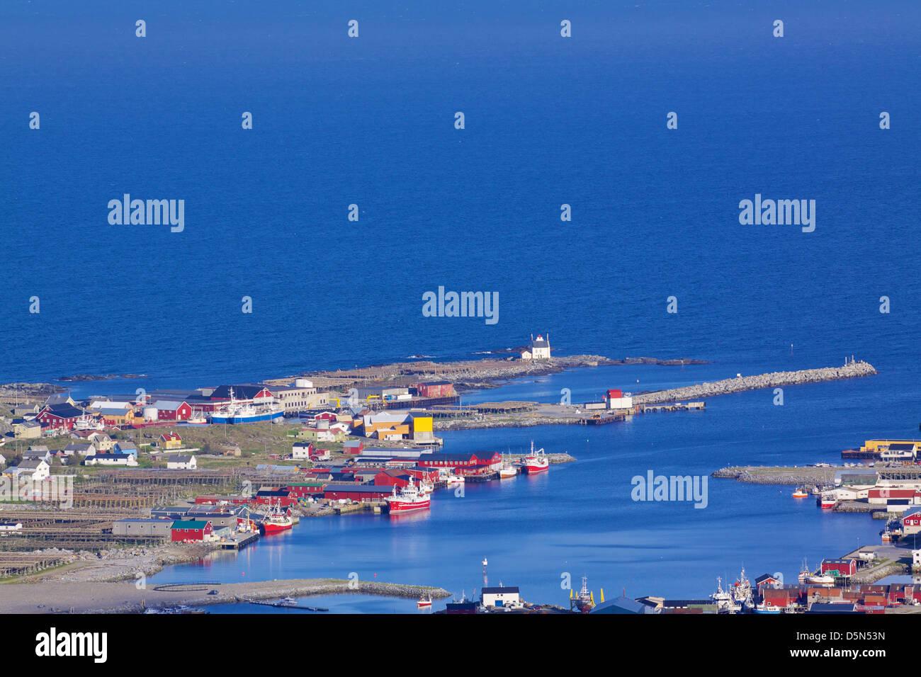 Scenic fishing harbor of Sorland on Vaeroy, Lofoten islands, Norway - Stock Image