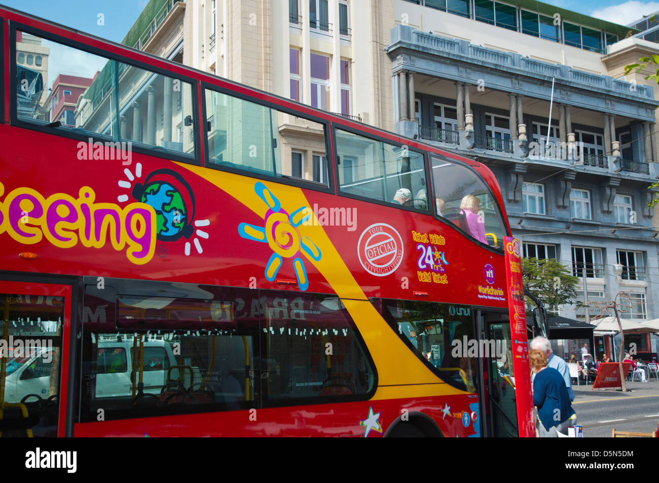 Double decker sightseeing bus at Plaza de la Candelaria square Santa Cruz de Tenerife city Tenerife island the Canary - Stock Image