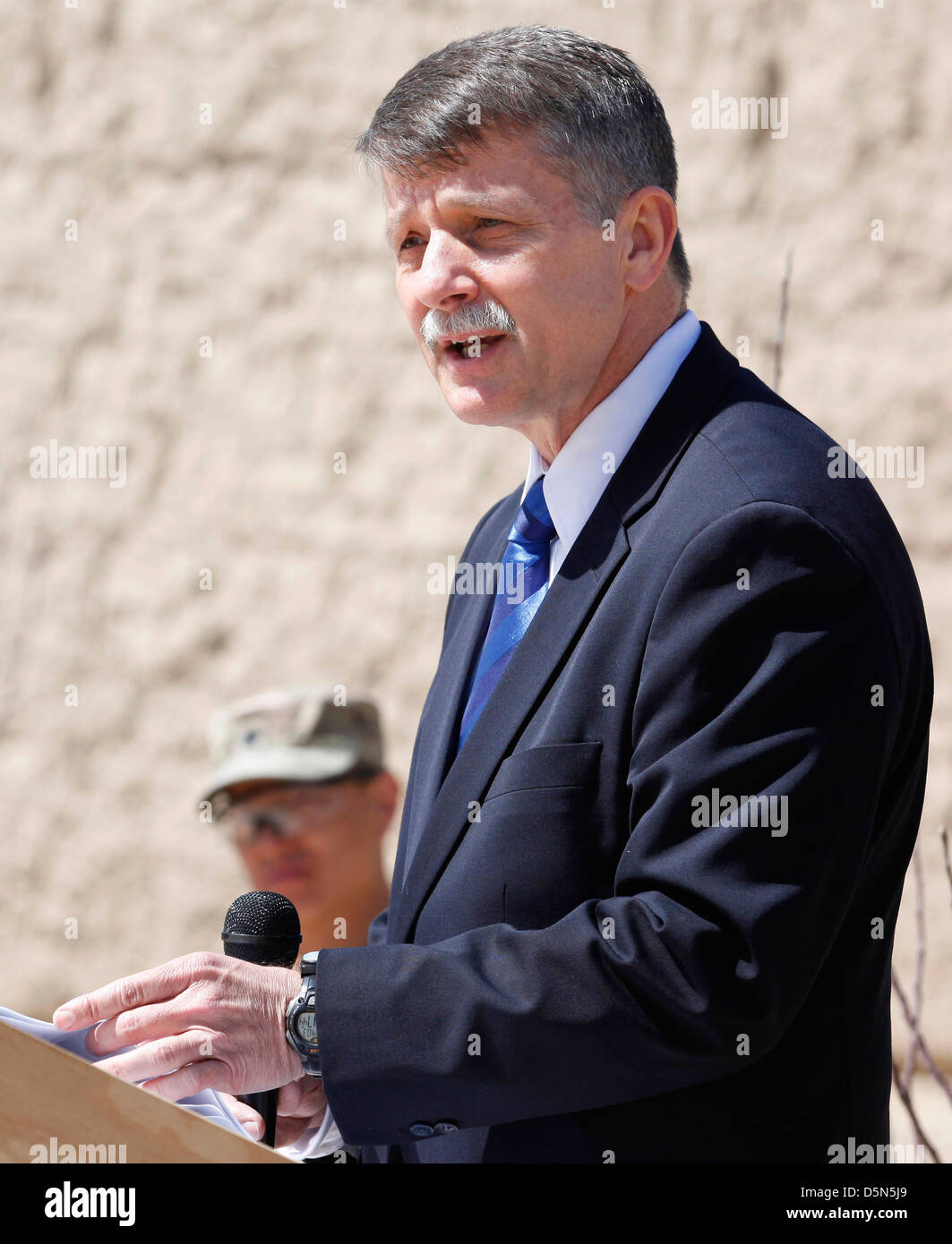 US Ambassador Stephen McFarland speaks at the closing ceremony of Provincial Reconstruction Team Gardez April 3, - Stock Image